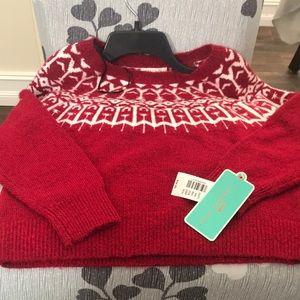 Girls medium red and white sweater NWT